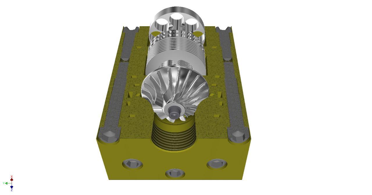 Infinity Turbine inflow radial turbine with common shaft feed pump and cavitation pump